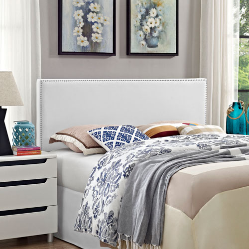 Phoebe Queen Vinyl Headboard in White