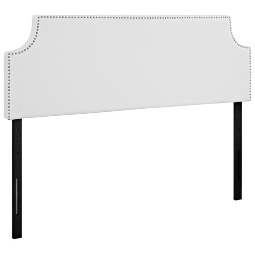 Laura Queen Vinyl Headboard in White