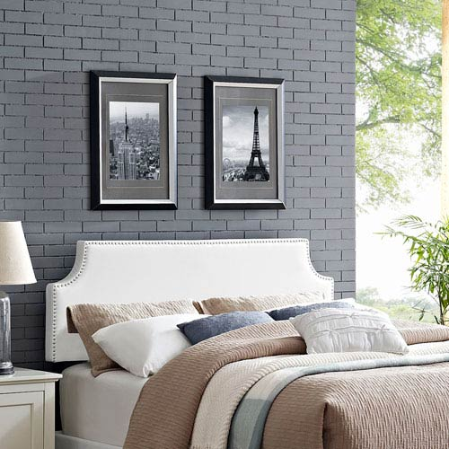 Modway Furniture Laura King Vinyl Headboard in White