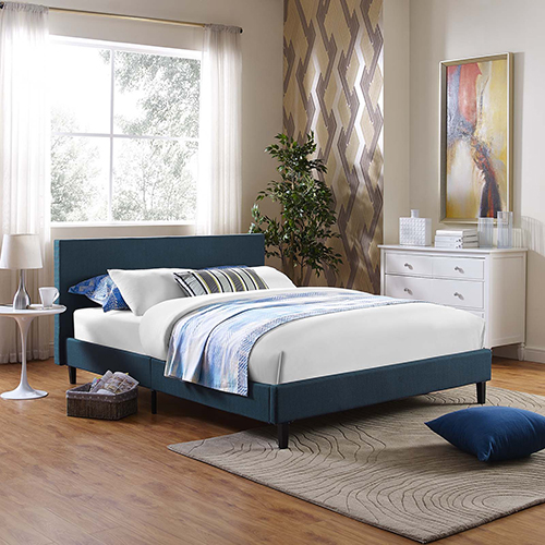 Modway Furniture Anya Full Fabric Bed in Azure