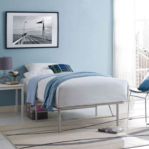 Modway Furniture Horizon Twin Stainless Steel Bed Frame in Gray