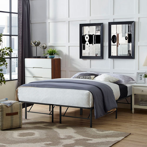 Modway Furniture Horizon Full Stainless Steel Bed Frame in Brown