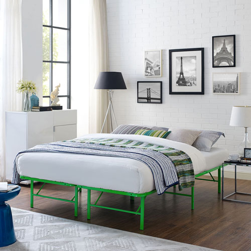Modway Furniture Horizon Full Stainless Steel Bed Frame in Green