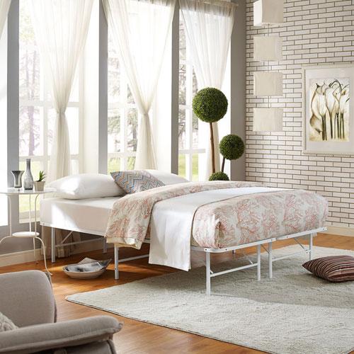 Horizon Full Stainless Steel Bed Frame in White