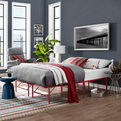 Horizon Queen Stainless Steel Bed Frame in Red