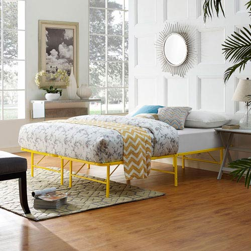 Modway Furniture Horizon Queen Stainless Steel Bed Frame in Yellow