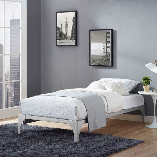 Modway Furniture Ollie Twin Bed Frame in Silver
