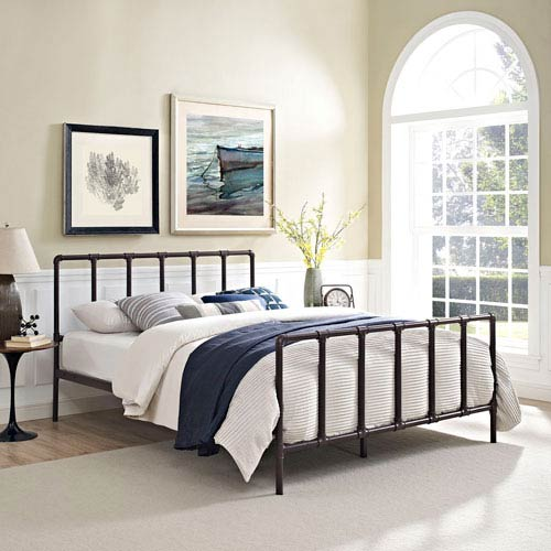 Dower Queen Stainless Steel Bed in Brown