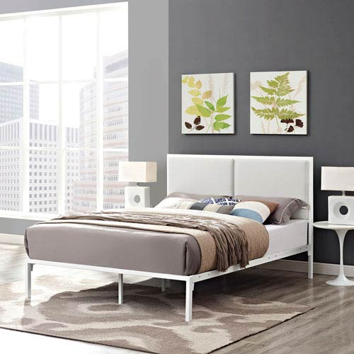 Modway Furniture Della King Vinyl Bed in White