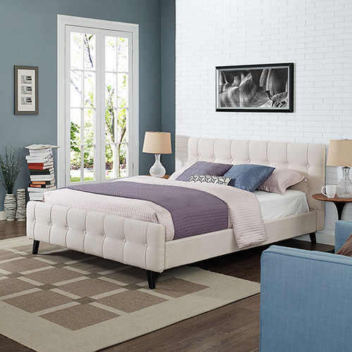 Modway Furniture Ophelia Queen Fabric Bed in Beige