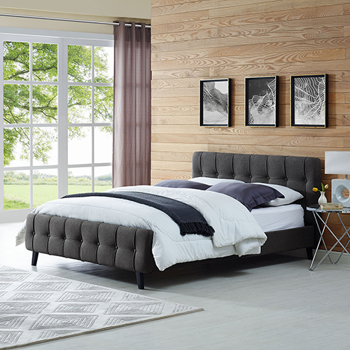 Modway Furniture Ophelia Queen Fabric Bed in Gray