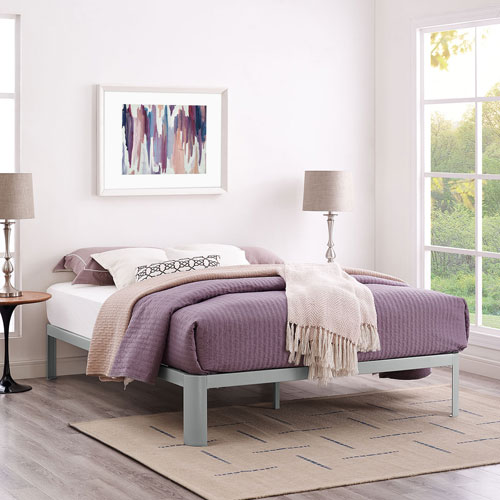 Modway Furniture Corinne Queen Bed Frame in Gray