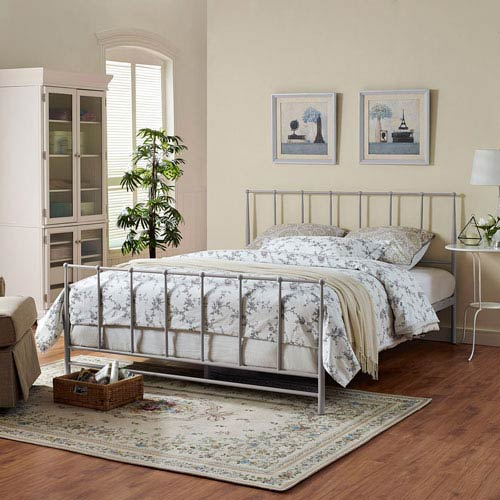 Modway Furniture Estate Full Bed in Gray