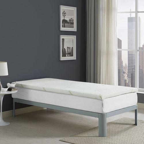 Modway Furniture Relax Twin 2 Inch Gel Memory Foam Mattress Topper