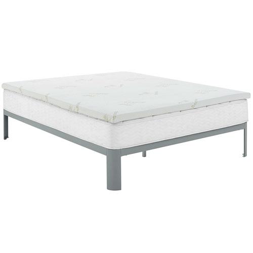 Modway Furniture Relax Full 2-inch Gel Memory Foam Mattress Topper in White