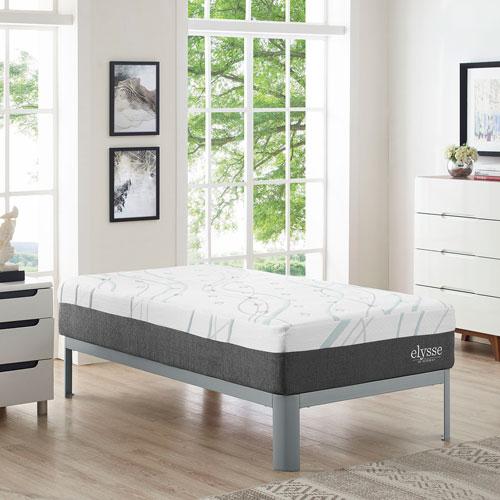 Elysse Twin CertiPUR-US® Certified Foam 12-inch Gel Infused Hybrid Mattress in White