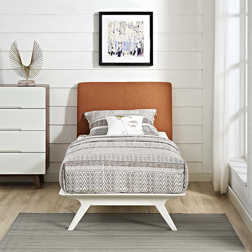 Modway Furniture Tracy Twin Bed in White Orange
