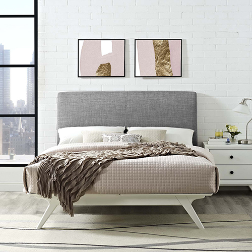 Modway Furniture Tracy Queen Bed in White Gray
