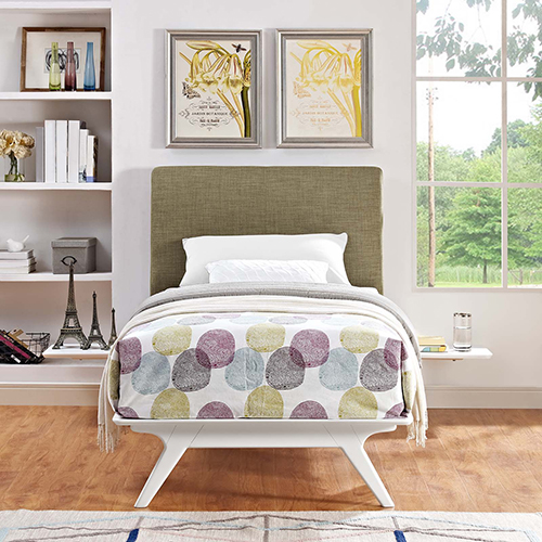 Tracy 3 Piece Twin Bedroom Set in White Latte