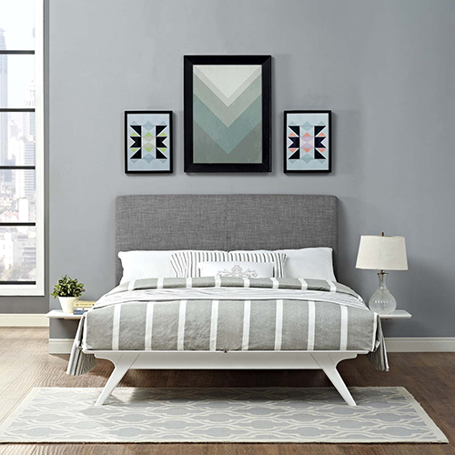 Tracy 3 Piece Full Bedroom Set in White Gray