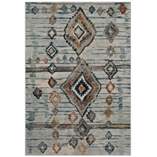Modway Furniture Jenica Distressed Moroccan Tribal Abstract Diamond 5x8 Area Rug