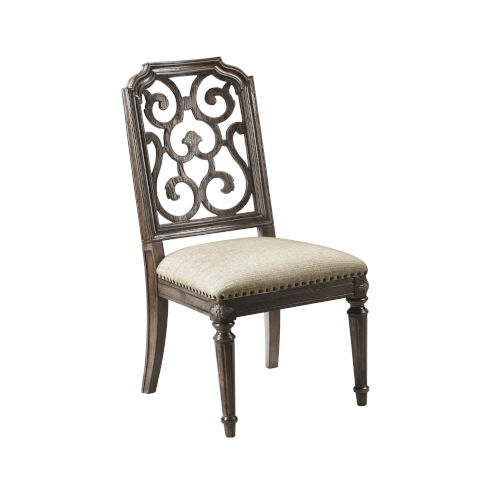 Vintage Salvage Makers 42-Inch Tristan Fret Back Side Chair, Set of Two