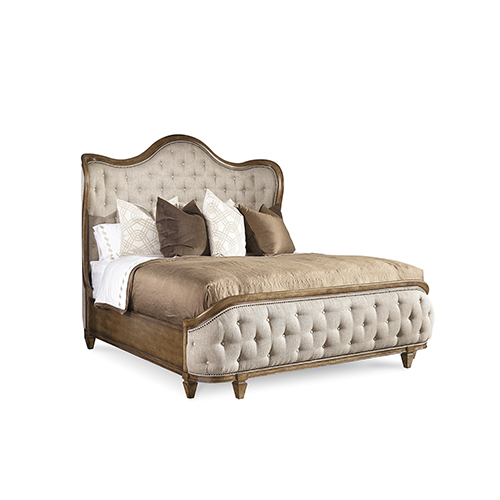 Continental Weathered Nutmeg King Upholstered Shelter Bed