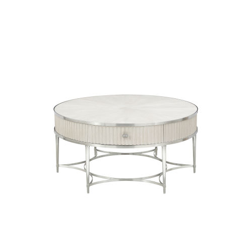 La Scala Ivory and Nickel 42-Inch Cocktail Table