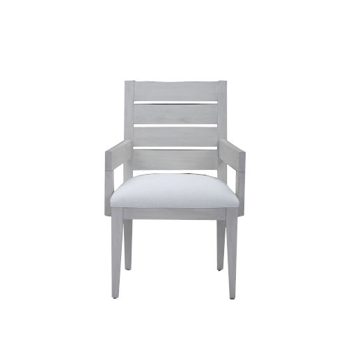 Epicenters 33127 Upholstered Dry Gray 36-Inch Luke Slat Back Arm Chair, Set of Two