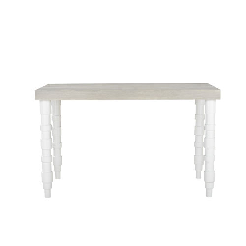 Epicenters 33127 Upholstered Gray Wash and Gloss White 60-Inch Dining Table