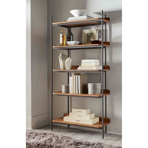 Walnut 72-Inch Tove Etagere Display Cabinet