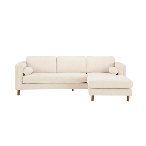 Admirable Walnut 84 Inch Ivory Boucle Upholstered Bi Sectional Sofa With Ottoman Beatyapartments Chair Design Images Beatyapartmentscom