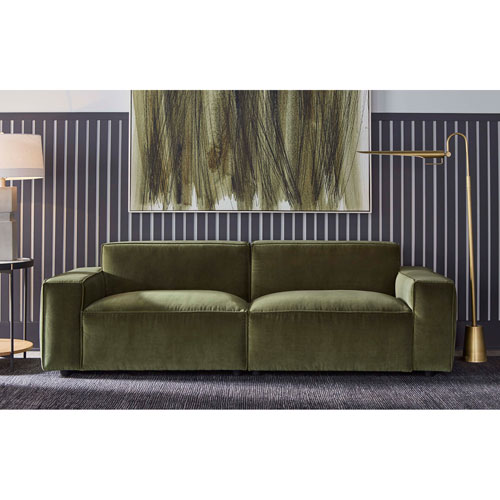 Walnut Fabric Upholstered Olafur Two-Piece Modular Loveseat Sectional