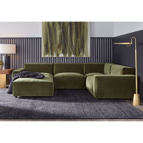Walnut Fabric Upholstered Olafur Five-Piece Modular Sectional