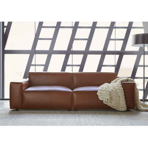 Walnut Vegan Leather Upholstered Olafur Two-Piece Modular Loveseat Sectional