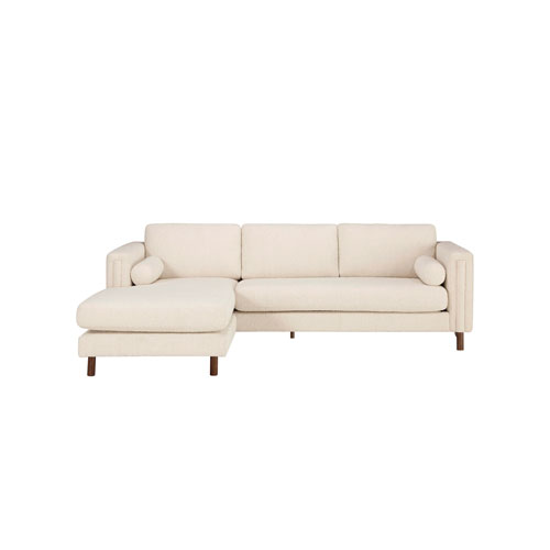 Walnut 103-Inch Ivory Boucle Upholstered Bi-Sectional Sofa with Ottoman