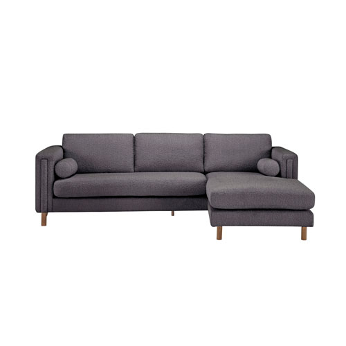Walnut 103-Inch Truffle Boucle Upholstered Bi-Sectional Sofa with Ottoman