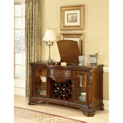 A.R.T. Furniture Old World Cathedral Cherry Motif Wine And Cheese Buffet