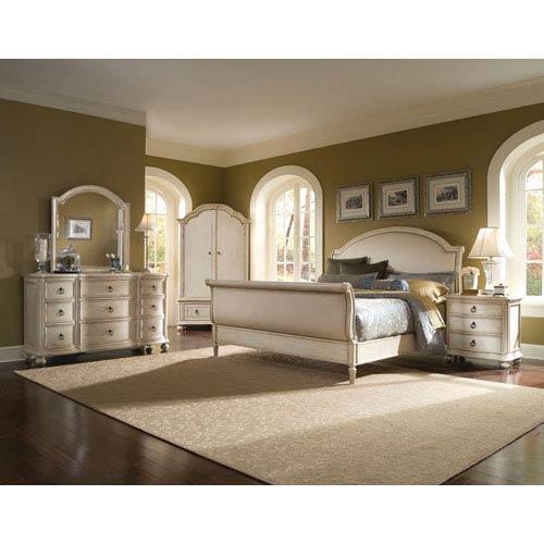 Provenance Pine Linen Upholstery Queen Sleigh Bed