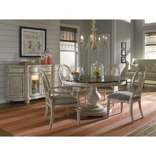 Belmar New Pine Round Dining Table Set with Extension Leaf
