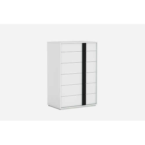 Kimberly Gloss White and Black Chest with Drawers