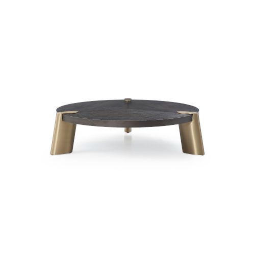 Mimeo Brown and Brass Round Coffee Table