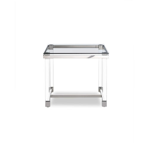 Brianna Clear and Stainless Steel Side Table