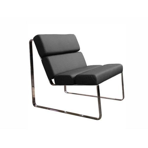 Whiteline Modern Living Angel Black and Chrome 22-Inch Chair