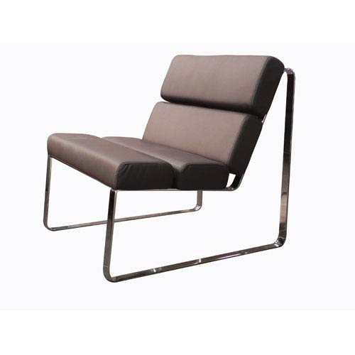 Whiteline Modern Living Angel Brown and Chrome 22-Inch Chair
