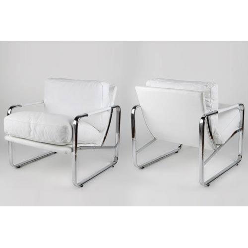 Magi White Leatherette and Chrome Chair