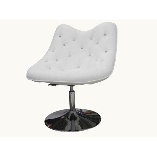 Sandy White and Chrome 39-Inch Chair