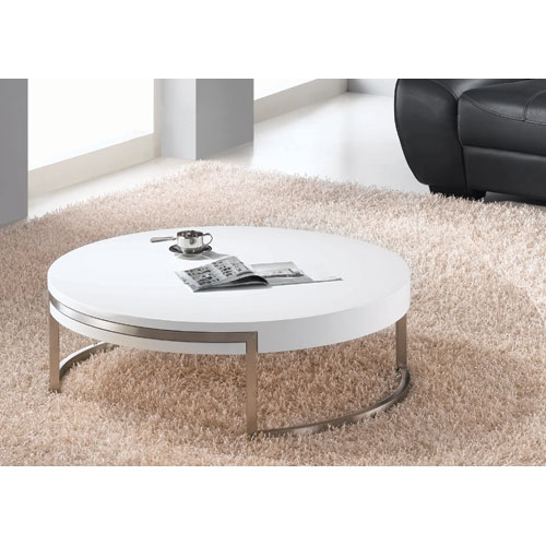 Whiteline Modern Living Ross White and Brushed Nickel Coffee Table