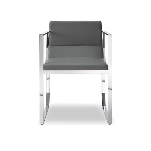 Whiteline Modern Living Blake Dining Armchair, Gray Faux Leather