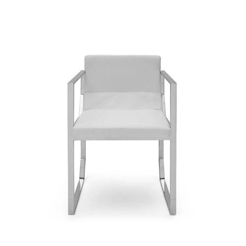 Blake Dining Armchair, White Faux Leather